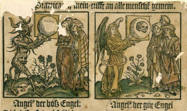 Practica des bosen und des guten Engels, Leipzig Konrad Kachelofen, ca. 1498, Wurttembergische Landesbibliothek,Stuttgart, Inc. fol. 13312b