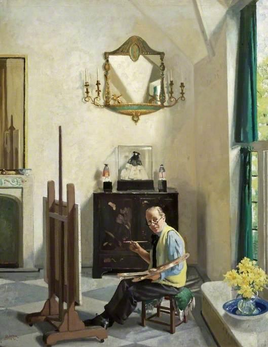 Sleator-James-Sinton-Studio-Interior-a-Portrait-of-Sir-William-Orpen-1931