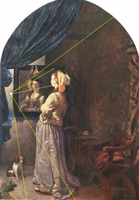 Van_Mieris Fra ns_van_-_Woman_before_the_Mirror_-_c._1670 Munich Alte Pinakothek perspective