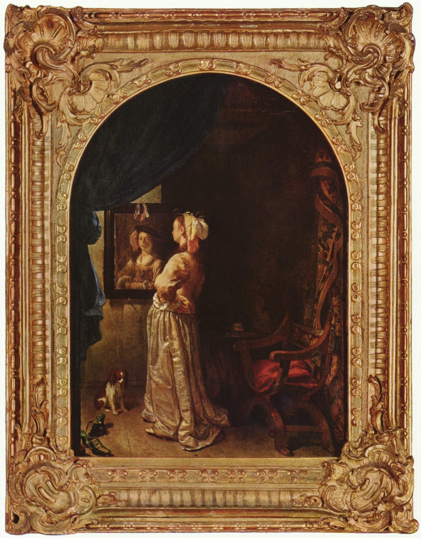 Van_Mieris Fra ns_van_-_Woman_before_the_Mirror_-_c._1670 Munich Alte Pinakothek