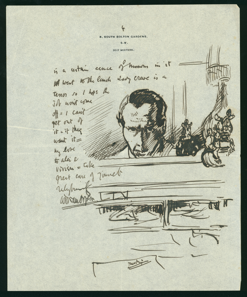 William Orpen Illustrated letter to Mrs St George