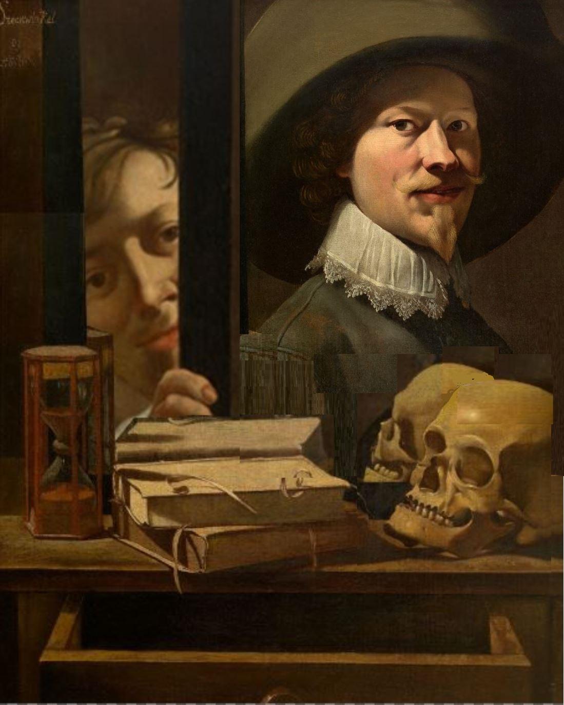 Antoine Steenwinkel - Vanitas, portrait de l artiste, XVIIeme s. Royal Museum of Fine Arts Antwerp solution