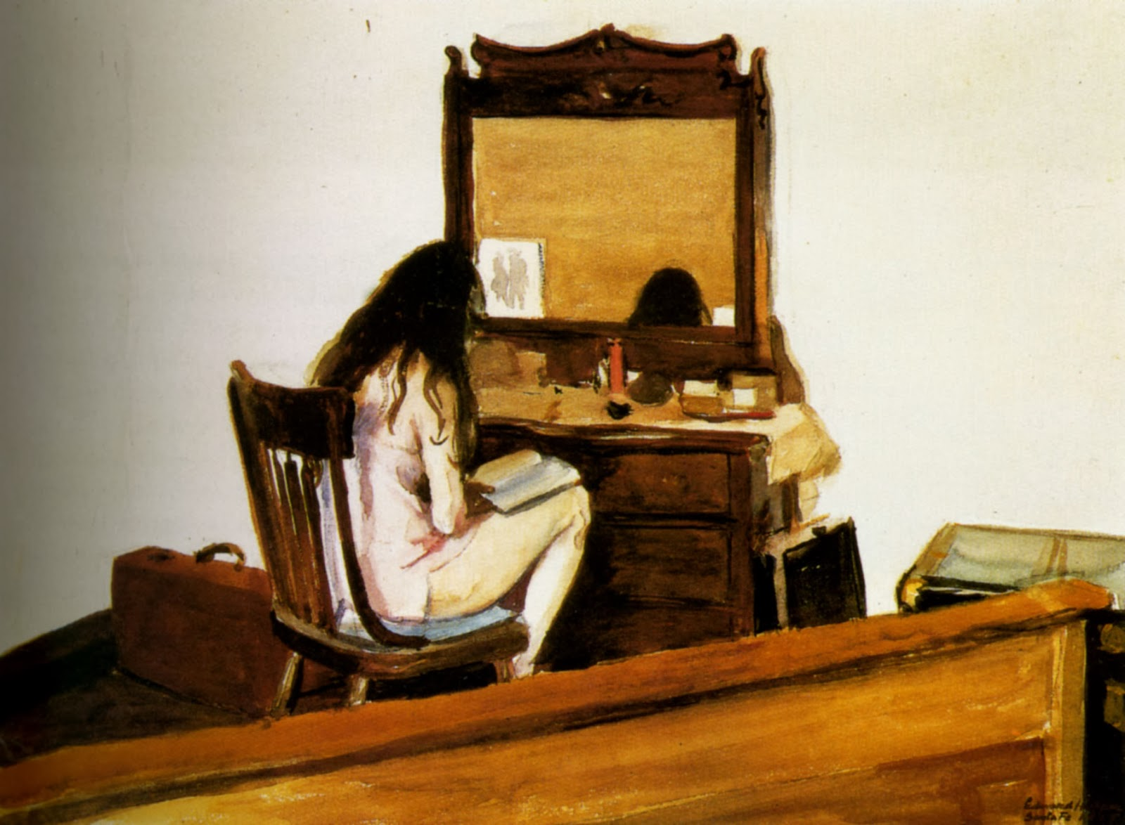 Edward Hopper - Model reading at dressing table (1925)