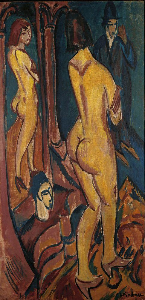 Ernst Ludwig Kirchner - Nu au miroir avec un homme 1912 Brucke Museum Berlin
