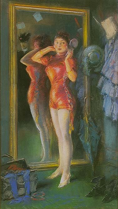 Everett Shinn 1910 Actress in Red Before Mirror pastel
