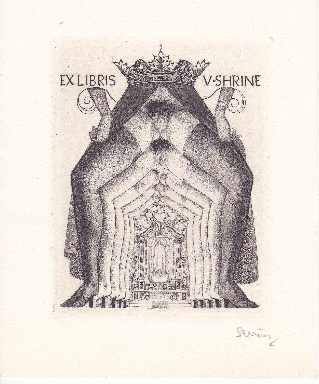 Exlibris signe Severin Belgique annees 1950