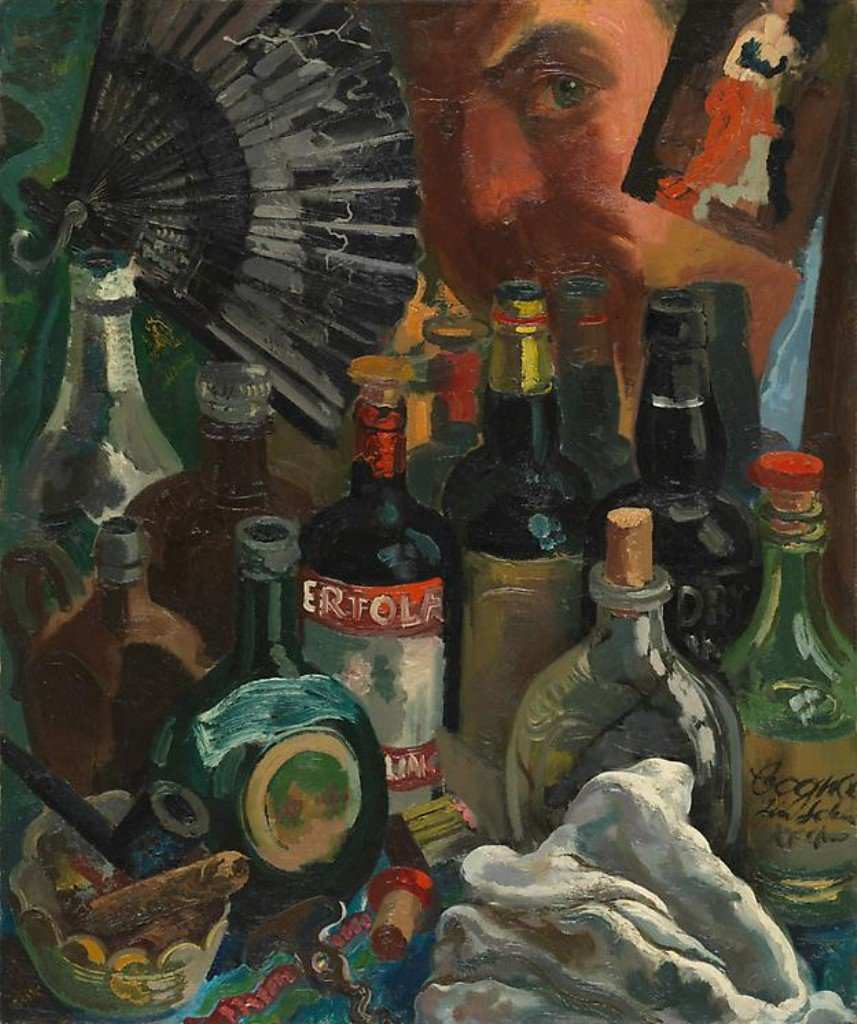 George Grosz, Myself and the Barroom Mirror, 1937