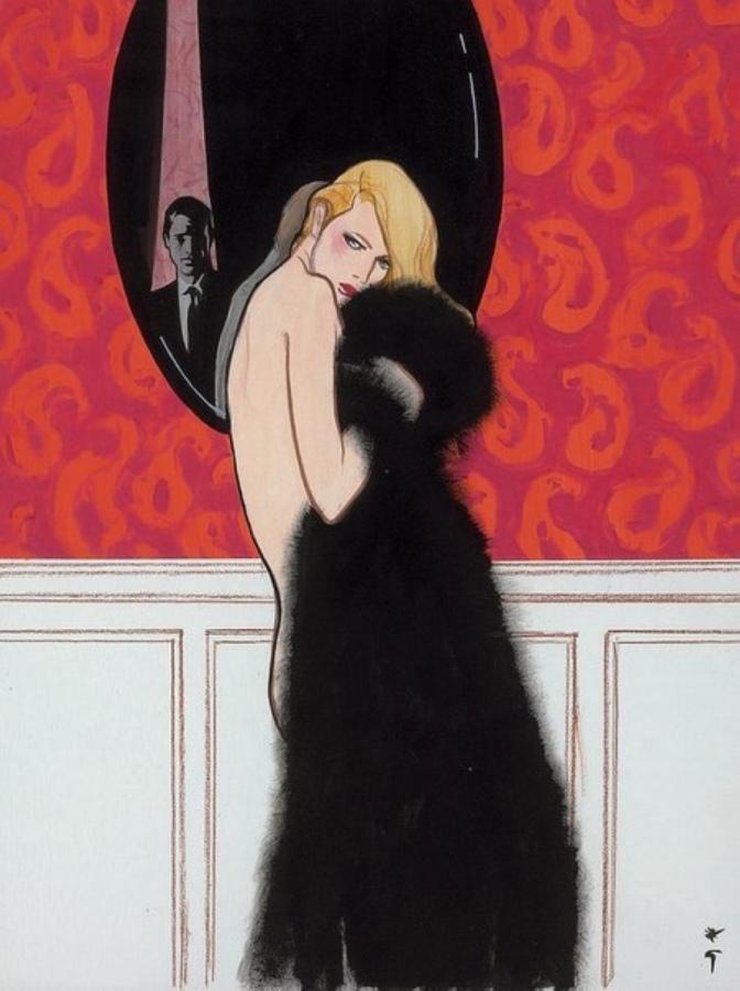 Gruau Femme a la fourrure vers 1970 gouache Collection particuliere