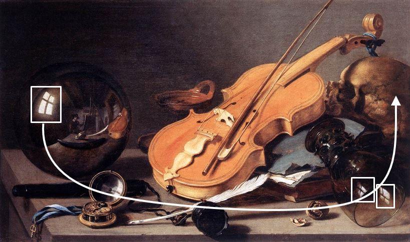 Pieter Claesz Vanitas with Violin and Glass Ball 1625 trajet