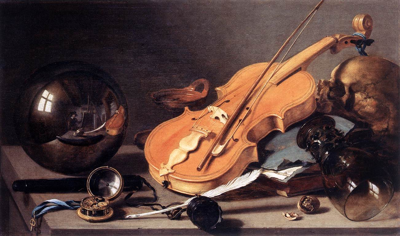 Pieter Claesz Vanitas with Violin and Glass Ball 1625