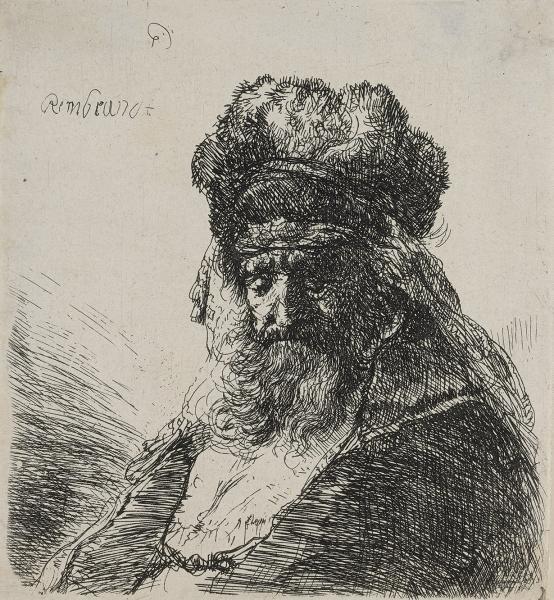 Rembrandt Vieillard à grande barbe en buste.