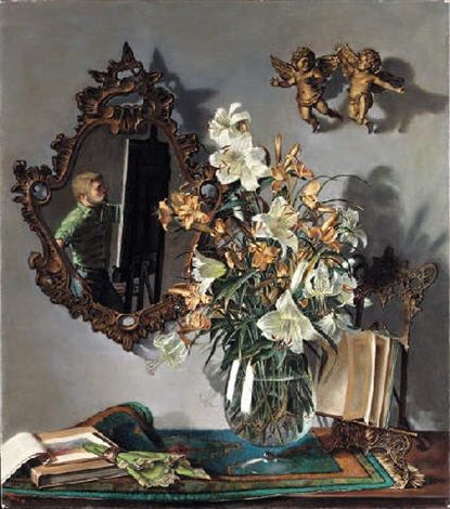 Self portrait with flowers von John Koch