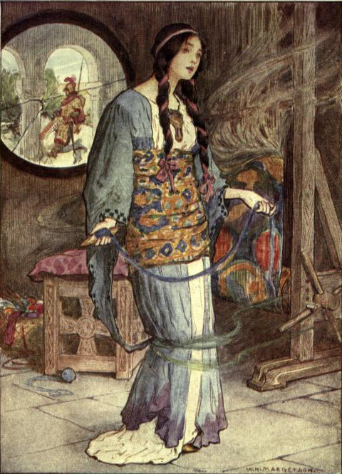 The Lady of Shalott William Henry Margetson 1905 Illustration de A Day with the Poet Tennyson Publie par Hodder and Stoughton.