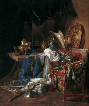 Willem Kalf Grande nature morte aux armes et armures 1643 Musee de Tesse, Le Mans