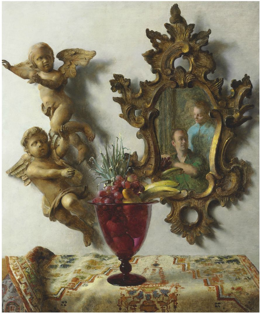 john-koch-still-life-with-angels-self-portrait-with-dora 1953 coll part