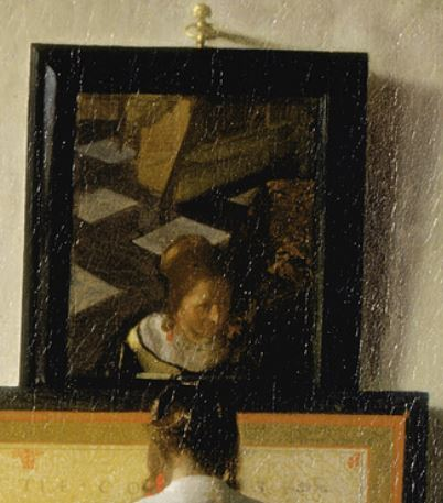 lady_at_the_virginals_with_gentleman_by_johannes_vermeer 1662 miroir