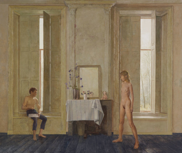 matthijs-roeling-interieur-met-schilder-en-zijn-model-interior-with-the-painter-and-his-model-1970