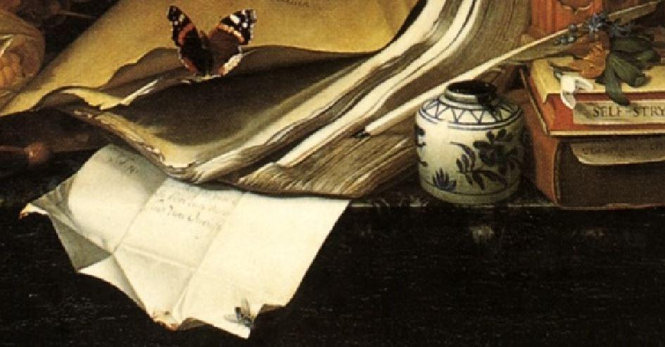 vanitas_still_life Van Oosterwyck_detail lettre
