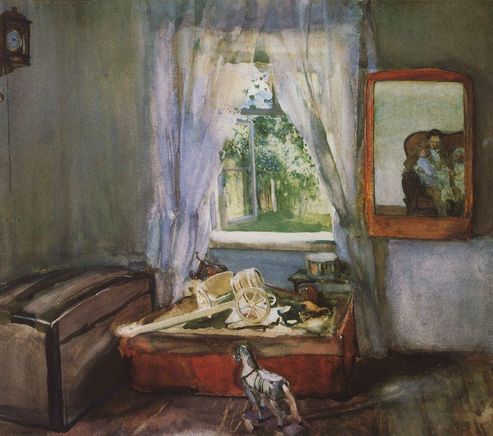 1898 Somov in-the-nursery