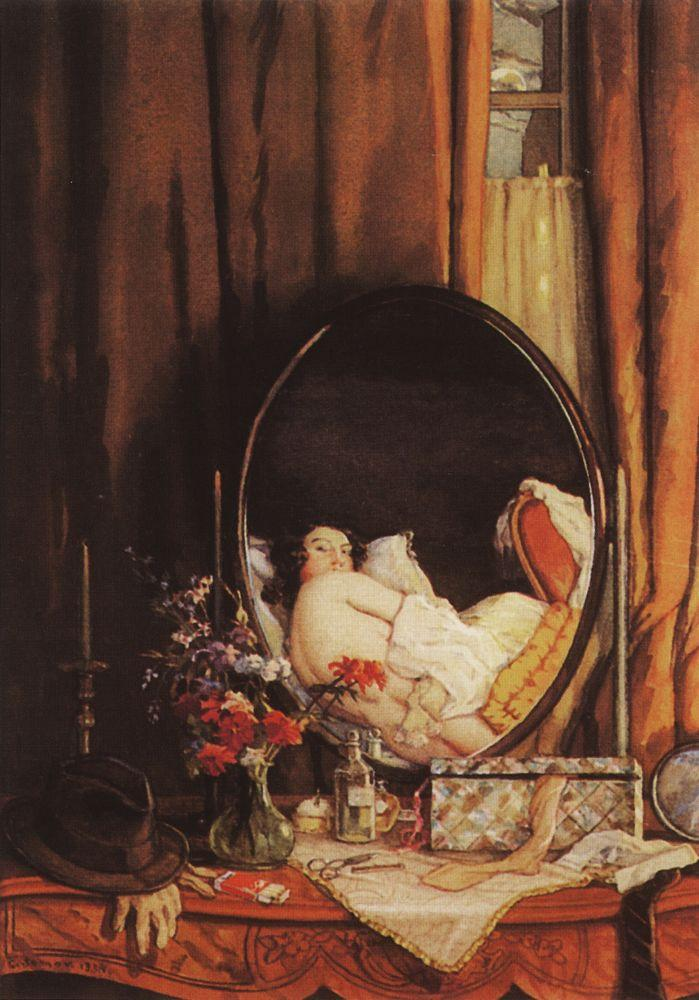 1934 somov intimate-reflection-in-the-mirror-on-the-dressing-table