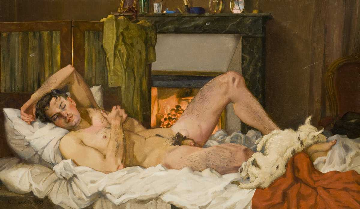 1938 Somov+Reclining male nude