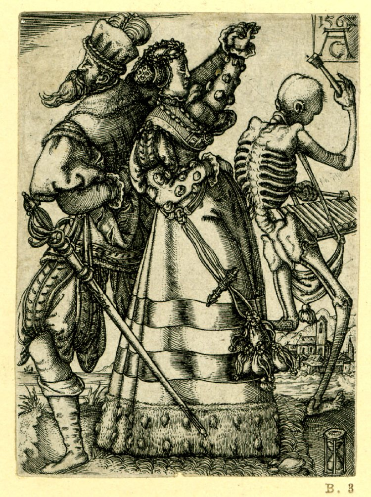 Allaert Claesz.A dancing couple with Death playing a xylophone 1562