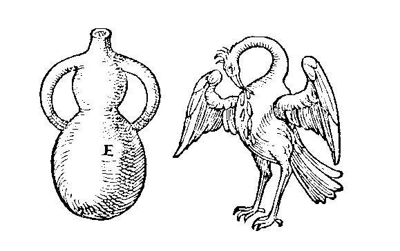 Vase alchimique dit pelican, d'apres Jean-Baptiste Porta, in Livre IX de distillations (1609)