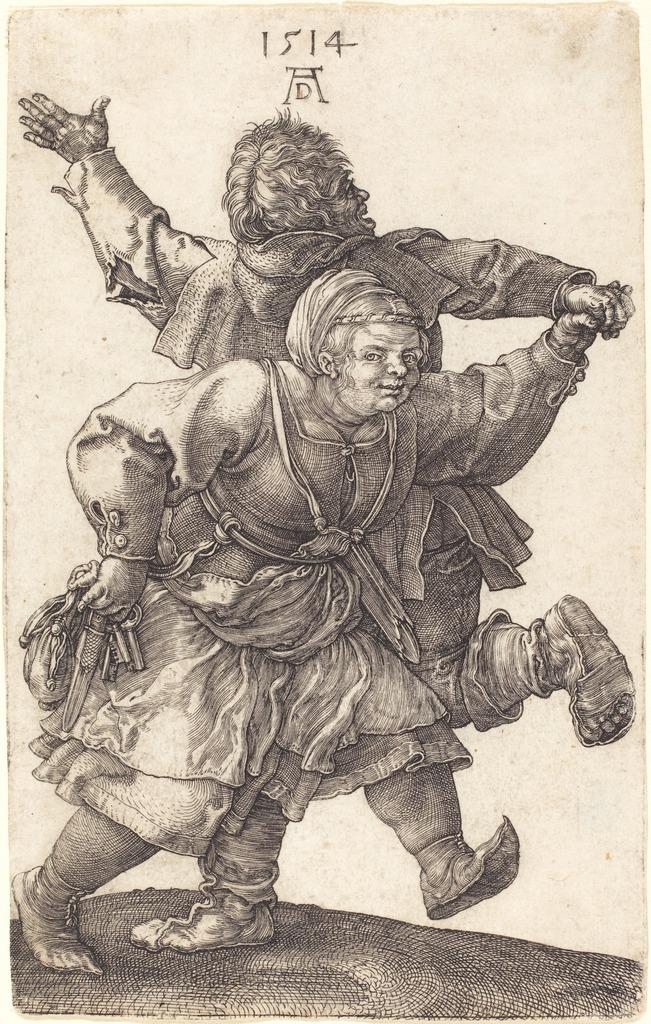 albrecht-durer-peasant-couple-dancing-1514