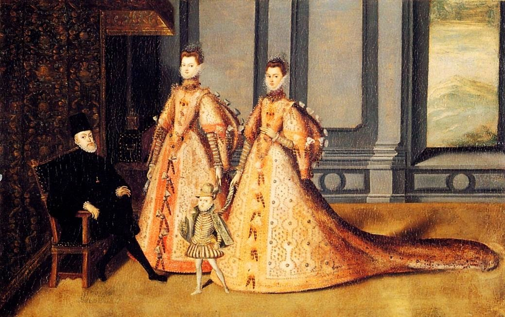 1580 ca Anonyme espagnol, Philippe II, le futur Philippe III et les infantes Isabelle-Claire-Eugenie et Catalina Micaela  New York, Courtesy of The Hispanic Society of America