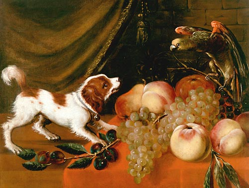 1630 ca Frans Snyders - Fruit still life with dog and parrot