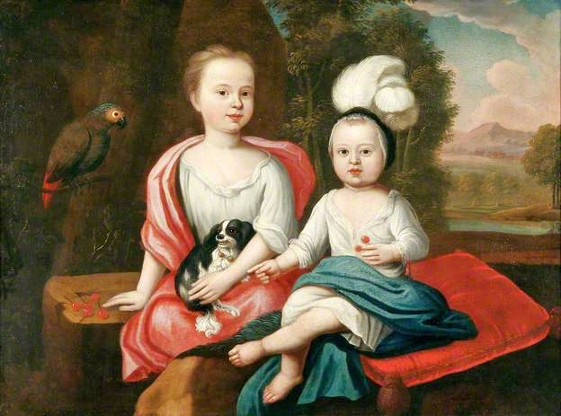 1650-90 Unknown artist Young Children with a Spaniel and a Parrot