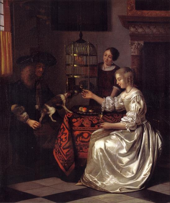 1669 Pieter_de_Hooch_-_Young_woman_feeding_a_parrot_and_a_dog_with_a_man_and_a_serving_woman coll privee