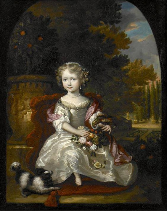 1670-90 Aleijda Wolfsen (1648-1690), A portrait of a girl with a bouquet of flowers and a parrot resting on her arm