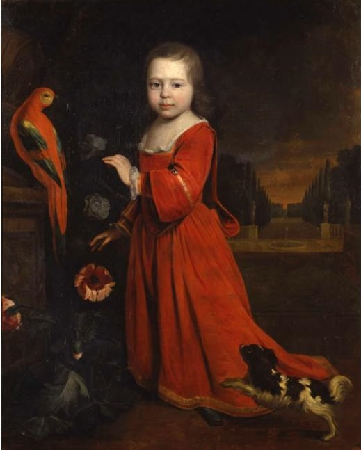 1670 ca Unknown Artist, Meisje in rode jurk met papegaai, Dordrechts museum, Dordrecht, Nederland.