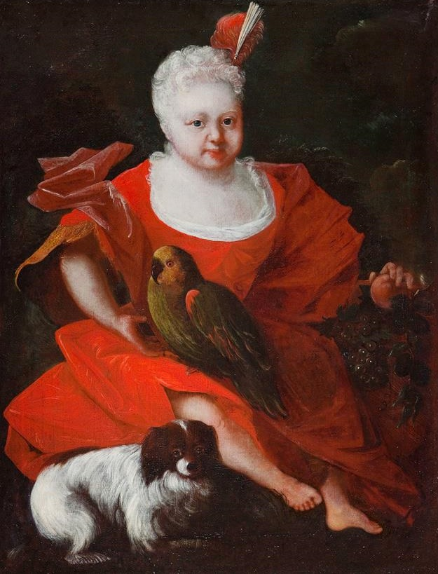 1670 ca unknown artist child with dog and parrot