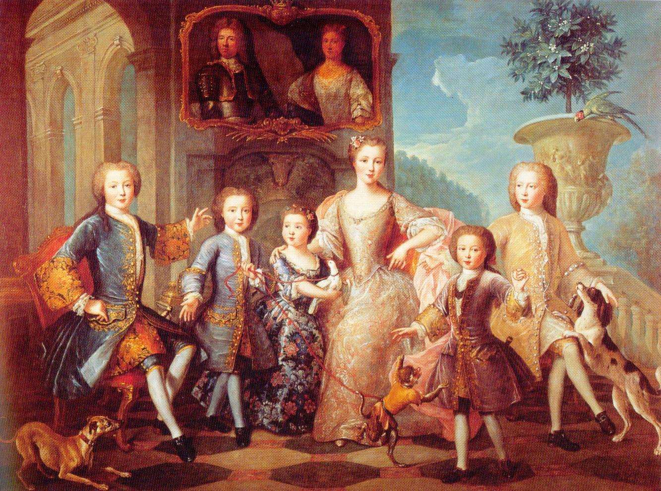 1730 ca Pierre Gobert, Famille du Duc et de la Duchesse de Valentinois -futurs Prince et Princesse de Monaco big