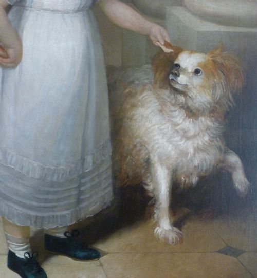 1810 ca Studio or circle of William Owen, Portrait of a Young Girl with her Pets chien