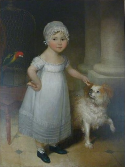 1810 ca Studio or circle of William Owen, Portrait of a Young Girl with her Pets