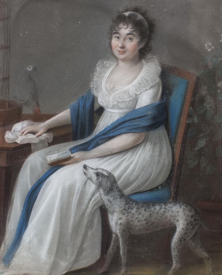 1830 ca Unbekannter Maler, Biedermeierportrat einer jungen Dame mit Hund und Papagei