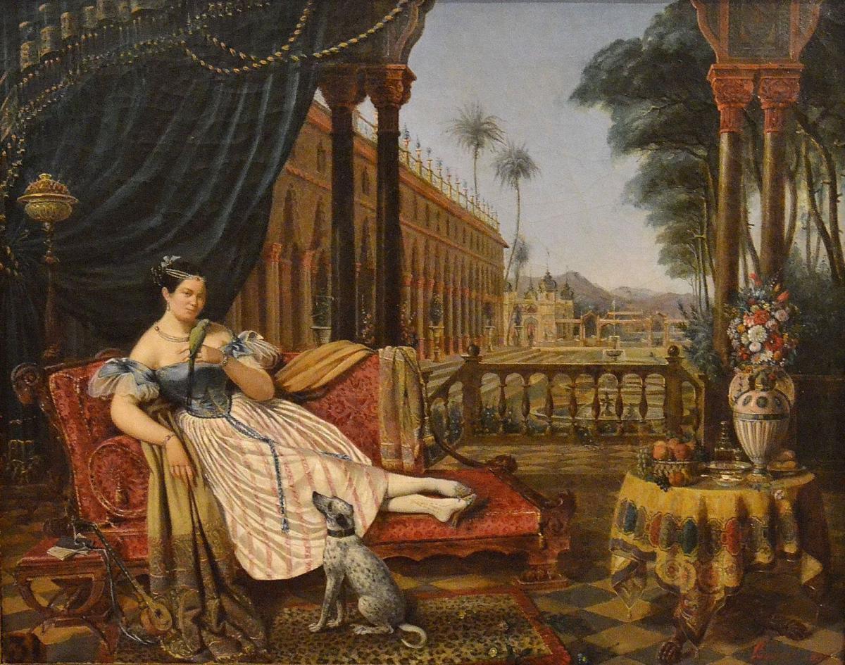 1835 Daniel Alexis Bourrit, Odalisque au perroquet dans un palais oriental,