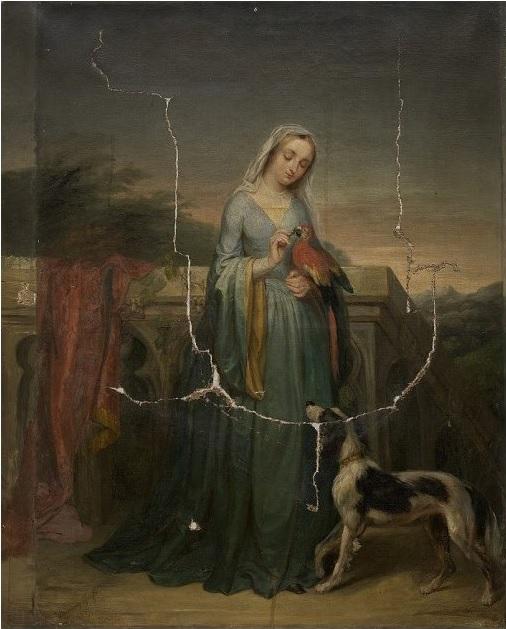 1837 ca Fanny Geefs-Corr Dame avec un perroquet. Groeningemuseum, Brugge.