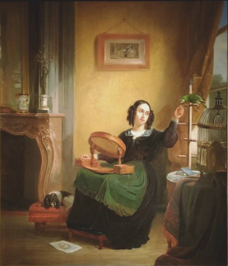 1850 ca Jules Joseph Boulanger, Jeune femme au perroquet