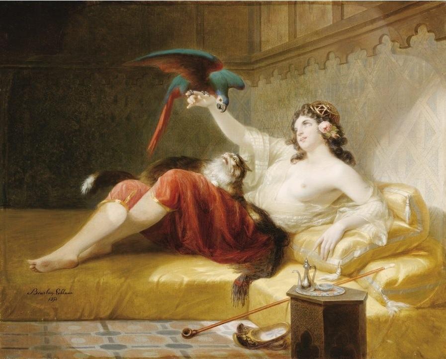 1854 Louis-Gabriel Bourbon-Leblanc, Odalisque au perroquet