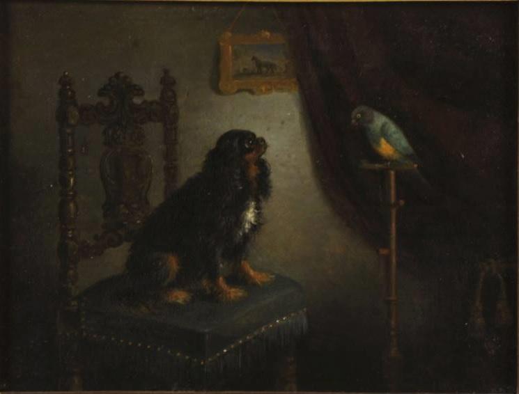 1860 ca Leopold de Cauwer (1830-1891), Cavalier King Charles et son perroquet