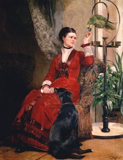 1880 ca Steffeck, Carl Constantin Heinrich Dame mit Papagei Art Museum Duesseldorf