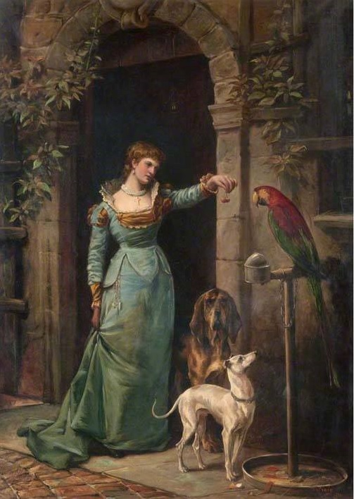 1882 R.H. Craig, A Woman with a Parrot and Two Dogs, McLean Museum and Art Gallery, Inverclyde, Scotland