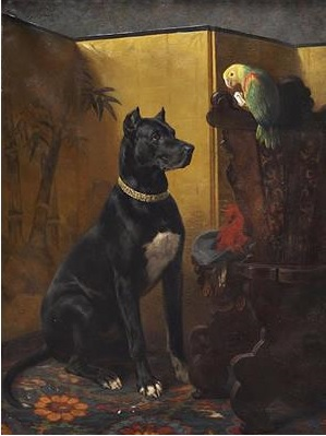 1892 Heinrich Sperling (1844-1924), Dogge and parrot Kunsthandel