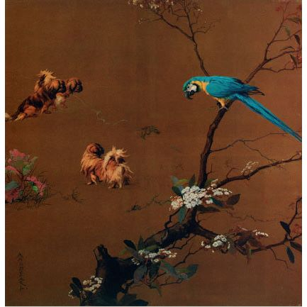 1923 Maud Earl Three Pekingese with a macaw, Kunsthandel