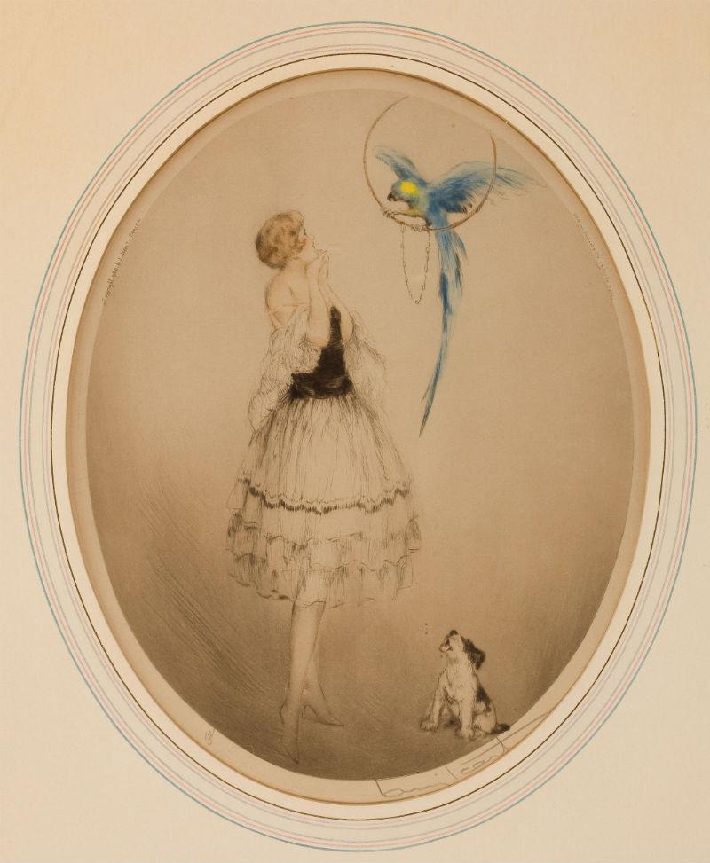 1928 Louis Icart le perroquet bleu