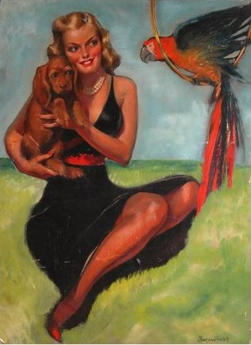1950 ca Bradshaw Crandell Beautiful Blond Cuddling Her Dog While Talking to a Parrot,